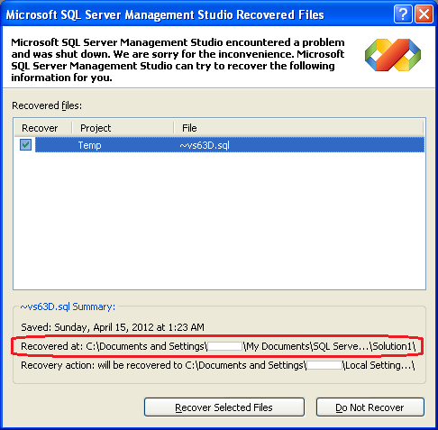 The auto recovery dialog will help recover unsaved queries after SSMS crash