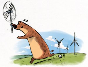 The Great Big Bear helps out on a wind farm