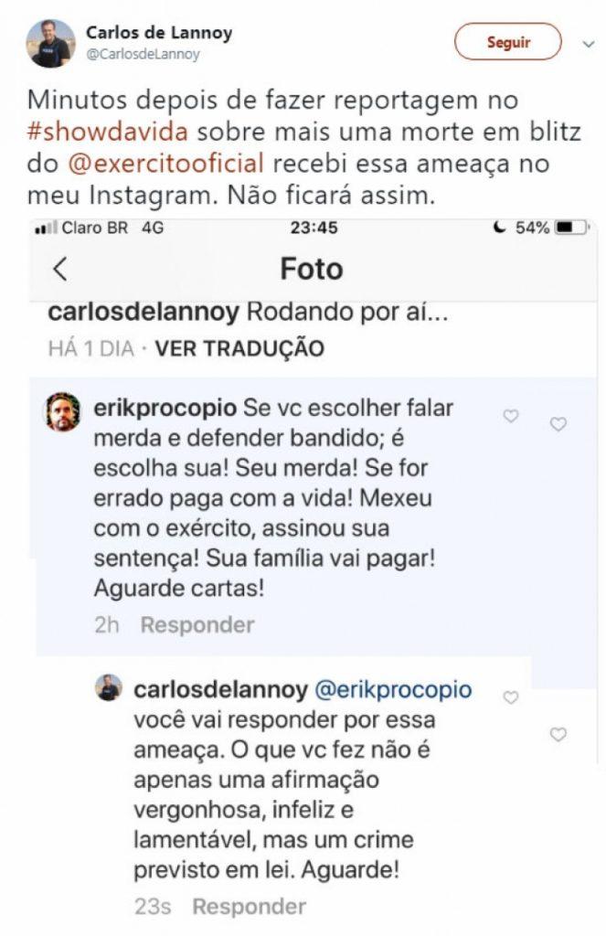 Ameaça recebida pelo jornalista Carlos de Lannoy. Foto: Reprodução