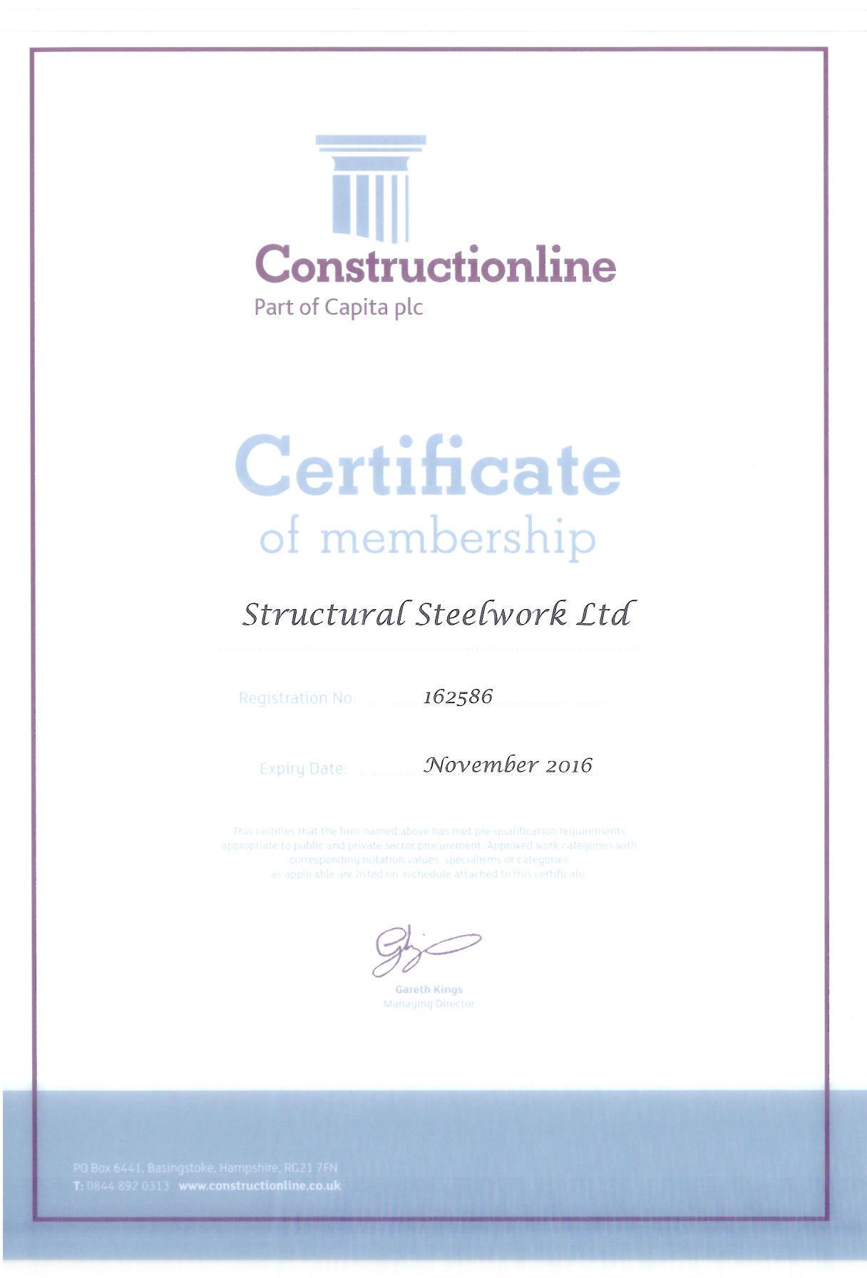 Constructionline Certificate 2016