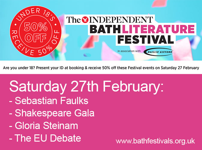 50% off Bath Literature Festival events on Saturday 27 February for under 18s – BOOK NOW!