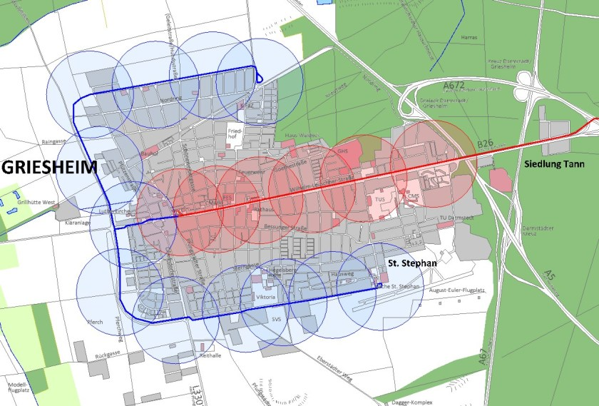Griesheim in 20 (?) Jahren: Straßenbahnverlängerungen erschließen fast das ganze Stadtgebiet, Erweiterungen nach Norden und Süden sind möglich.