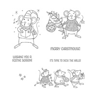 Merry Mice Wood-Mount Stamp Set