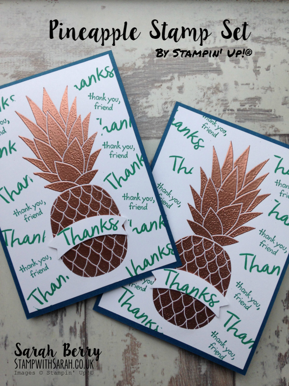 Bronzed Pineapple, a new stamp set to the 016-017 Annual Catalogue #stampinup #bloghop #pineapple