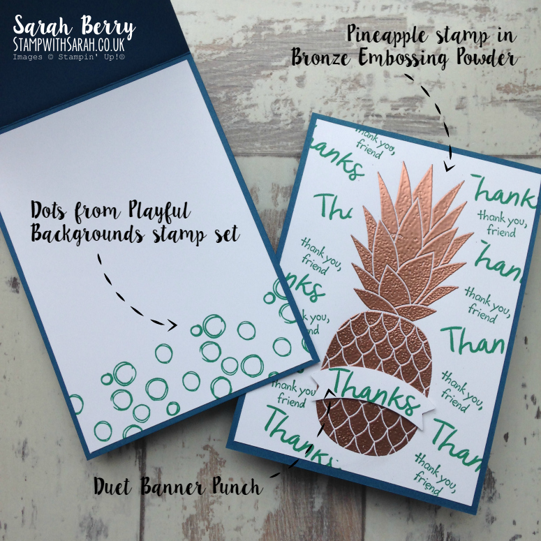 Bronzed Pineapple card close up #stampinup #bloghop #pineapple