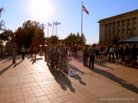 Oklahomans gather in the heat to show their objection to US intervention in Syria