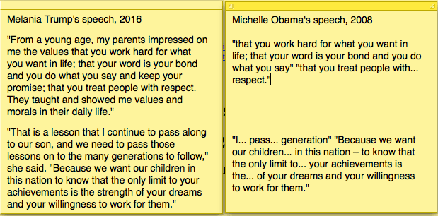 side-by-side wording of melania trump's