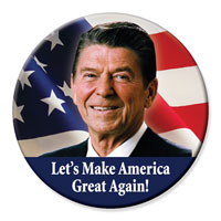 a Ronald Reagan sticker saying Make America Great Again