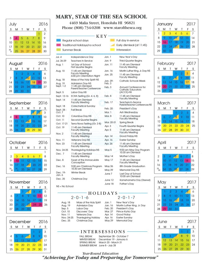 2016-2017 School Calendar | Star of the Sea School