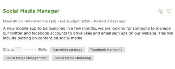 Upwork - marketing strategy job