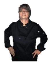 Jeannette in Blck chef jacket no back ground