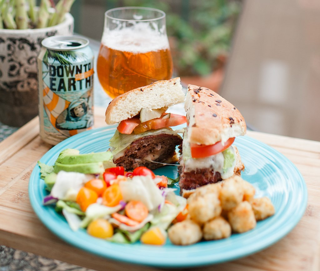 Beer & BBQ Pairing: 21st Ammendment's Down to Earth IPA with Cheese Stuffed Burgers