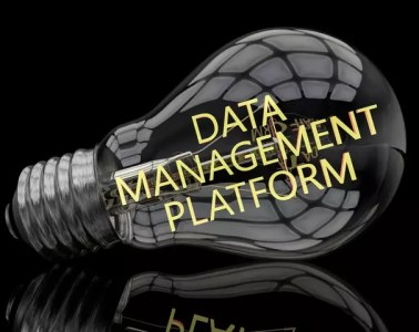 Data Management Platform - lightbulb on black background with text in it. 3d render illustration.