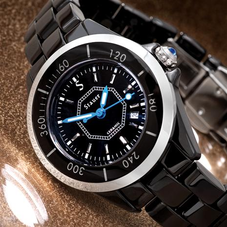 Stauer Ladies Swiss Movement Black Ceramic Watch