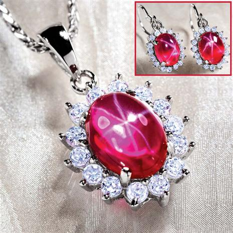 Aster Scienza Ruby Necklace & Earrings