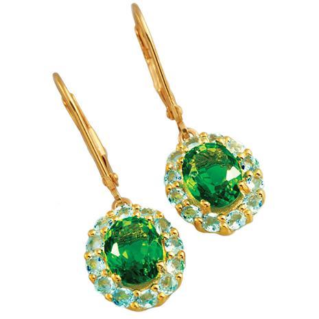 Cascade Helenite & Blue Topaz Earrings
