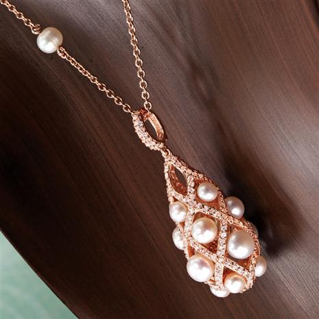 Lattice Freshwater Pearl & Diamondaura Pendant