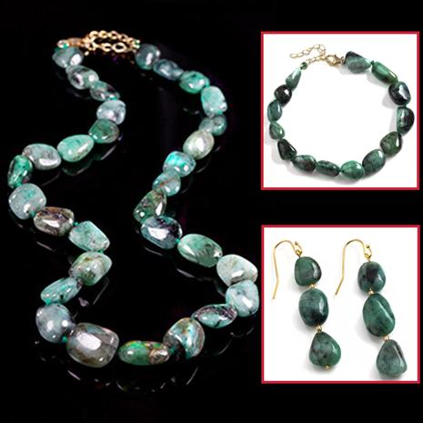 Raw Emerald Necklace, Bracelet & Earrings Set