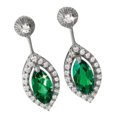 Marquise Scienza Emerald & DiamondAura Earrings