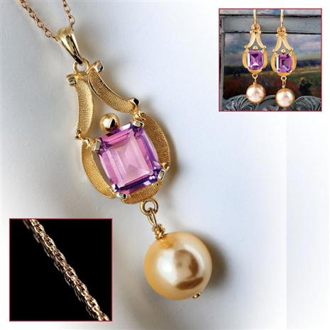 Amado Amethyst Pendant, Earrings & Chain Set