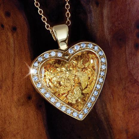 24K Gold-leaf Heart Pendant