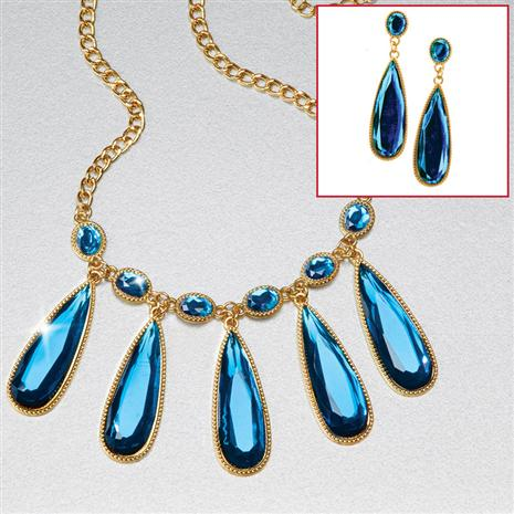 Blue Melody Necklace & Earrings Set