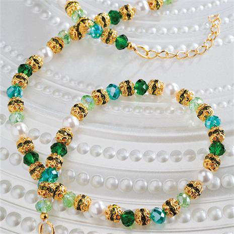 Vetro Bead & Cultured Pearl Necklace