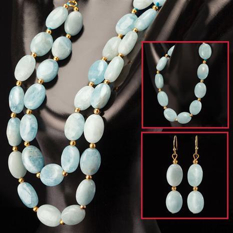 Cabo Aquamarine Necklace, Bracelet & Earrings Set