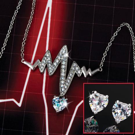 Heartbeat Necklace & Earrings Set