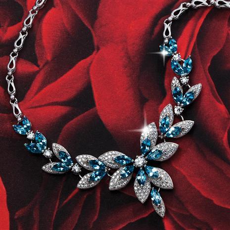 Polar Rose Blue Topaz Necklace