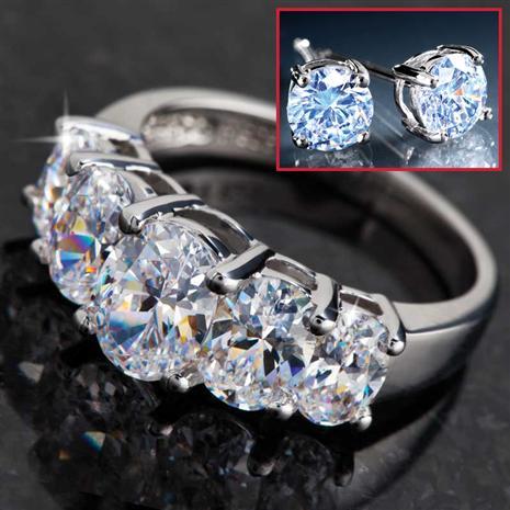 DiamondAura Quinto 5-Stone Ring & Earrings