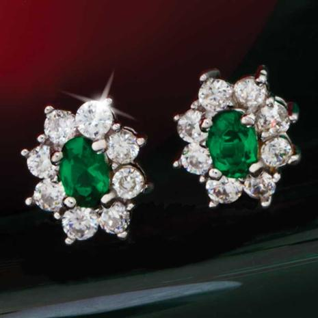 Diamond Aura Green Blossom Earrings