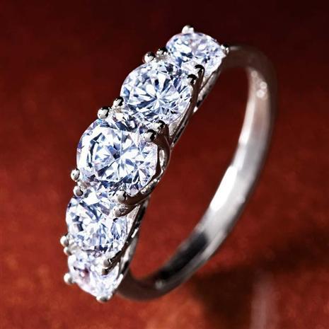 Platinum-Layered 5-Stone DiamondAura Ring