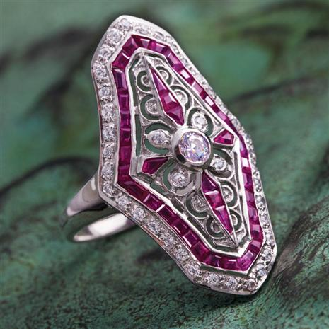 Deauville Art Deco Ruby Ring