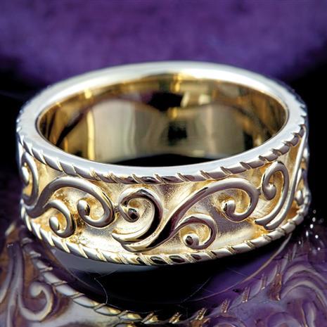 Onda Golden Pattern Ring
