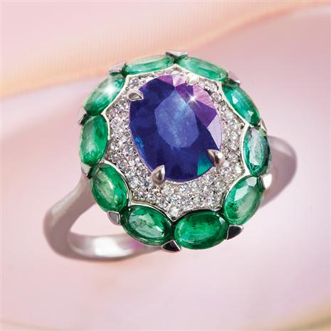 African Sapphire & Emerald Ring