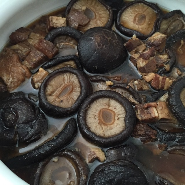 Today's #homemade dish -- Dried Mushrooms stewed with Roast Pork. My take on Hubby's family recipe, which his late mum would cook for us every CNY without fail. Our very own 'heritage dish'! #mushroom #roastpork #cny2015