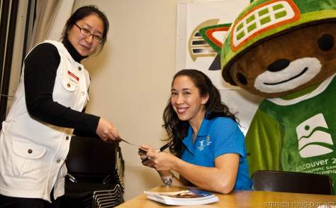 Paralympic Athlete Andrea Holmes and the Vancouver 2010 Mascots Visit Douglas College