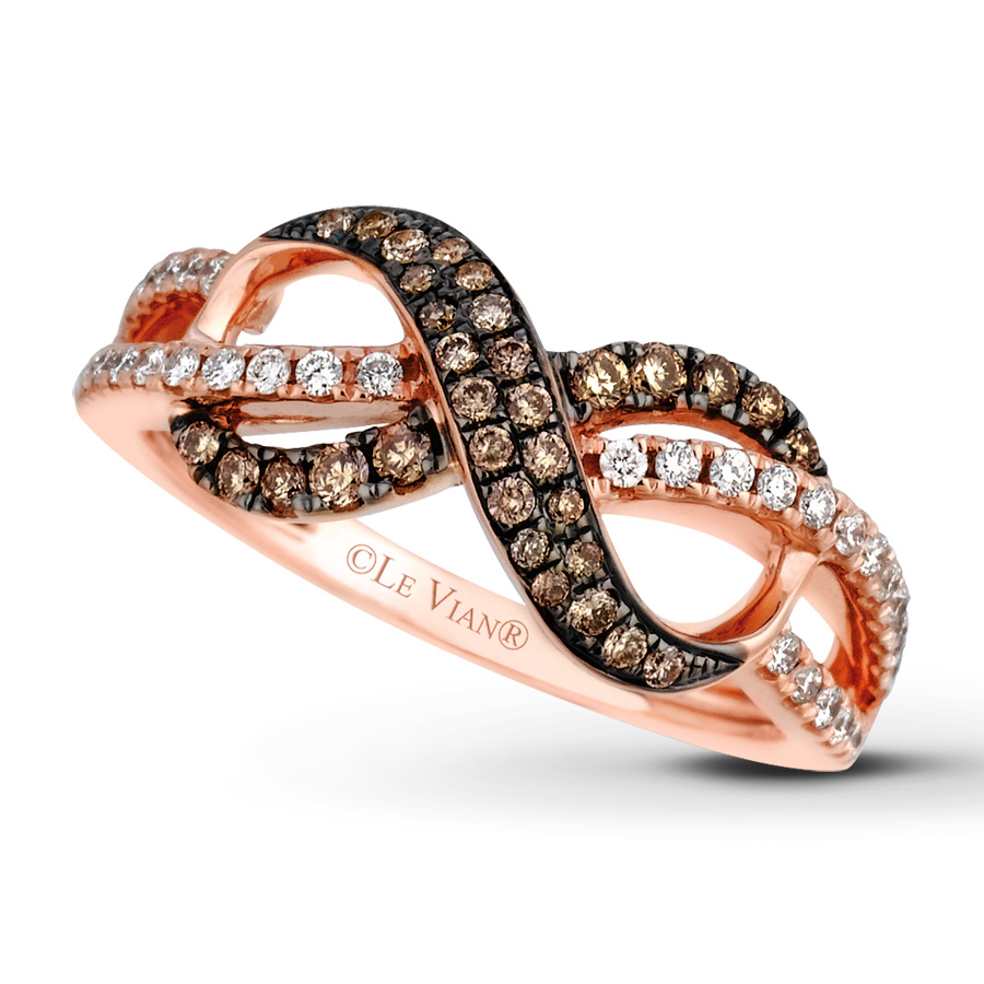 levian chocolate diamonds 3 8 ct tw ring 14k strawberry gold le vian wedding bands Hover to zoom