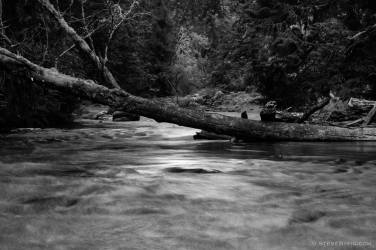 A black and white, long exposure photograph of the Lyre River on the Olympic Peninsula in Washington State.
