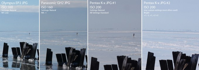 Starting on the Left, EP2, GH2, Pentax Kx and Pentax Kx my custom settings... Click to see full size
