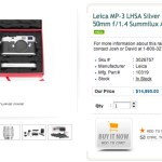 Amazing SUPER RARE Leica Set for Sale - The LHSA MP-3 with SE 50 1.4 Summilux and Leicavit.
