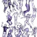 Gesture drawings by Steve Lieber