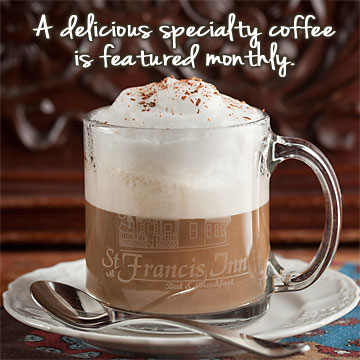 a specialty coffee is featured monthly