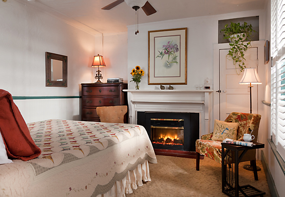 Relaxing Fireplaced Guest Room 555x383px