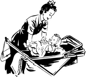 Mom Putting Baby In Pram