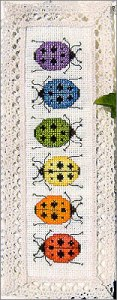 Rainbow Ladybugs Cross Stitch Bookmark