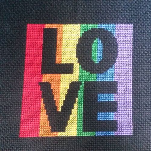 Love marriage equality pattern stitched by Amanda B.