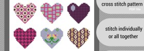 quilted heart cross stitch pattern set