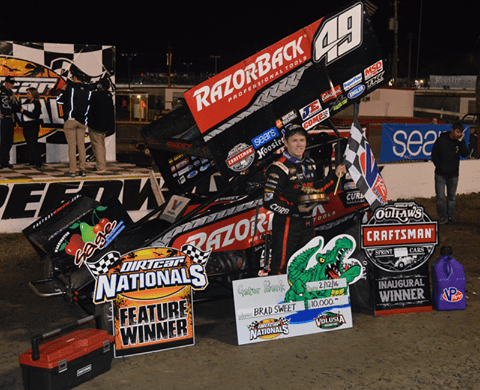 Kasey Kahne Racings Brad Sweet Wins Outlaws Opener at DIRTcar Nationals